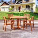 丰舍 户外休闲桌椅 庭院阳台桌椅套装 1圆桌4椅 木色