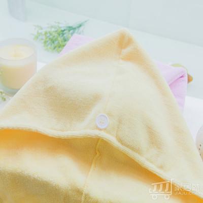 洁丽雅grace 超细纤维干发帽 强吸水 擦头巾 包头干发帽6864 浅黄色