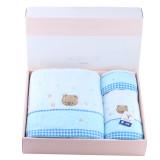 金号 无捻小熊毛巾方巾浴巾三件套 礼盒包装JLY 3166 蓝色套件+粉礼盒