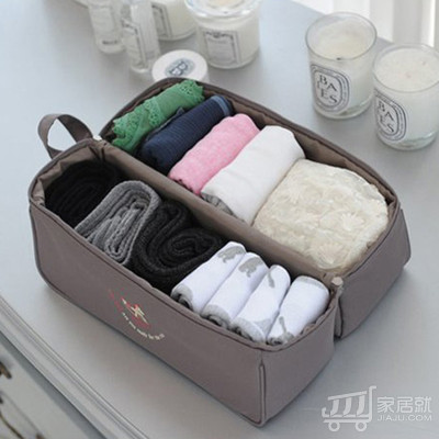 绿盒子 旅行收纳鞋袋 可做内衣收纳包 多功能手提收纳鞋包 深灰色
