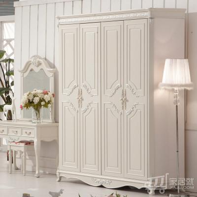四门衣柜 平顶不带抽 YG905 象牙白 实木框架 内部结构完善