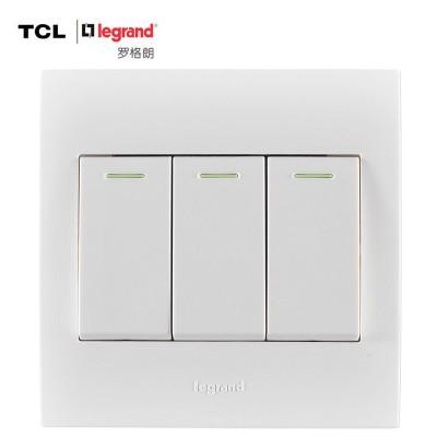 TCL-罗格朗开关插座面板 仕界系列 三开单控带荧光开关 86型 雅白色