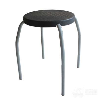 Hiboss 塑料圆凳 加厚可叠放小凳子 ZYJD032 黑色
