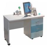 糖果屋 青少年学习桌 写字台电脑桌 三抽储物滑轮桌 天蓝色 天蓝色 儿童qy700千赢国际(唯一)官网