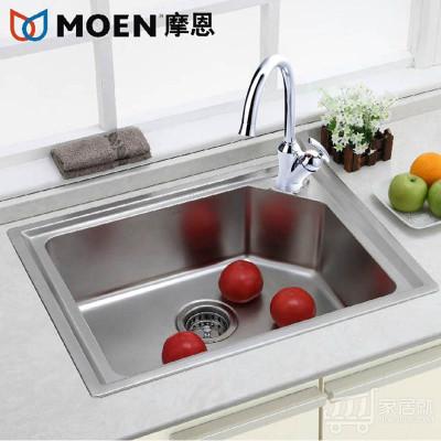 摩恩MOEN 304不锈钢水槽套餐 单槽 洗菜盆22173 60111ec龙头