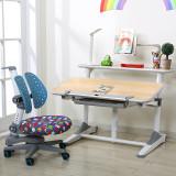 美亿佳 源自台湾 实木儿童书桌儿童学习桌桌椅套装可升降 写字台 蓝色艾迪椅套装