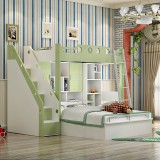 糖果屋 儿童卧室qy700千赢国际(唯一)官网多功能书桌衣柜组合床 双层高低子母床 上床1.2x1.9米 1.35高箱+0.5书柜