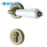 德国KLC 欧式青古铜门锁 欧式分体锁 陶瓷把手纯铜锁芯 米兰 青古铜