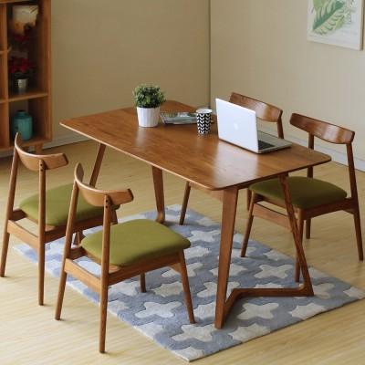 AJ 日式白橡木餐桌纯实木餐桌椅组合简约现代北欧长餐桌AJ01 1.6 胡桃色单桌
