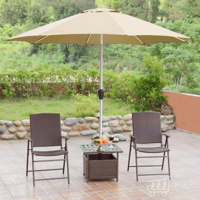 丰舍 遮阳伞藤椅茶几4件套户外 阳台休闲藤编庭院咖啡桌椅组合 1伞1桌2椅 卡其色
