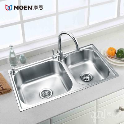 摩恩MOEN不锈钢大小槽双槽厨房水槽套餐28117SL