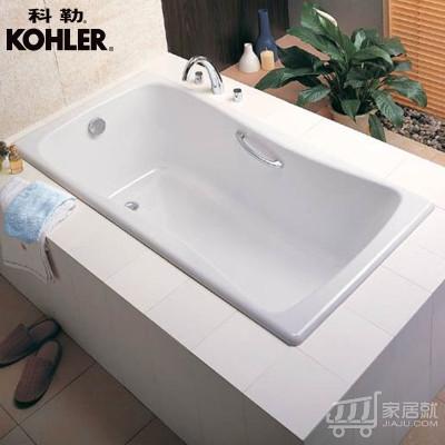 科勒百利事1.5米1.7米铸铁浴缸嵌入式浴缸K-17270T/K-15849T(BJ) 有扶手孔