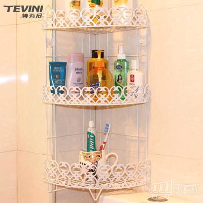 特为尼TEVINI 雕花浴室置物架 卫生间化妆品整理架 厨房架 三角架 三层