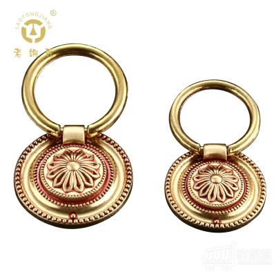 老铜匠纯铜欧式橱柜拉手中式拉手抽屉拉手衣柜家具拉手MJ381380 大号玫瑰金