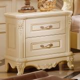 法莉娜 欧式床头柜 实木床边柜子 法式储物柜 卧室家具套装 M10 床头柜 闪光漆描金