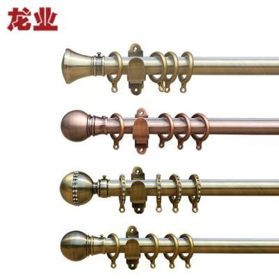 龙业28型钢质窗帘杆单杆双杆套装 0.1米 加厚罗马圈 纳米静音轨1.5米起售(青古