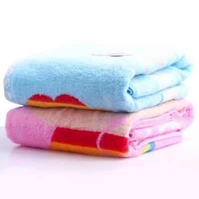 洁丽雅grace 纯棉卡通浴巾 强吸水 舒适柔软情侣型 8027 蓝色