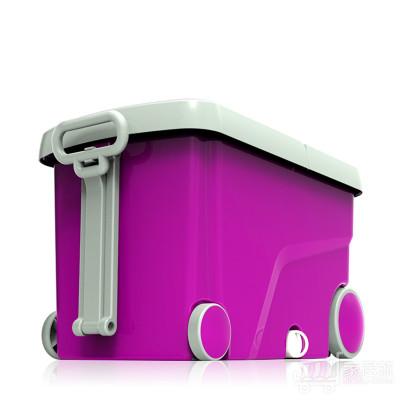 洁仕宝双驱动旋转拖把桶好神拖 6个拖头+加强杆不锈钢盘 紫灰色