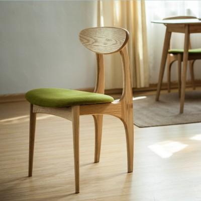 AJ 白橡木北欧时尚简约实木休闲高档布艺餐椅书桌椅蝴蝶椅子13 白橡木椅