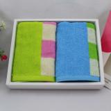 洁丽雅grace纯棉彩色方块面巾两条装 6967 彩色方块 男女均适用 礼盒包装