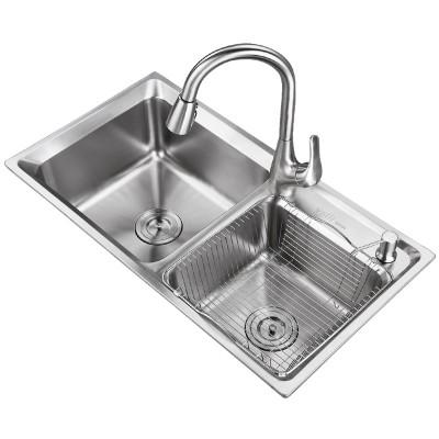 华帝(VATTI)医用级 304不锈钢水槽洗菜盆双槽手工槽
