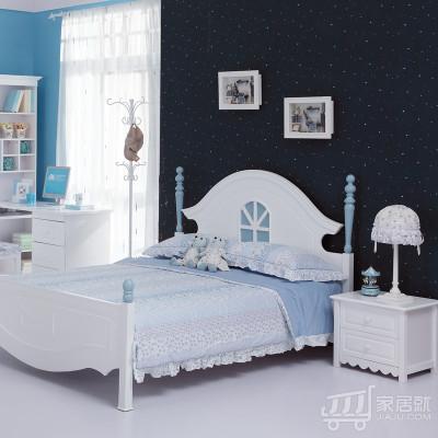 糖果屋 梦幻系列儿童家具2件套 1.2米床 床头柜 韩式儿童床 白色