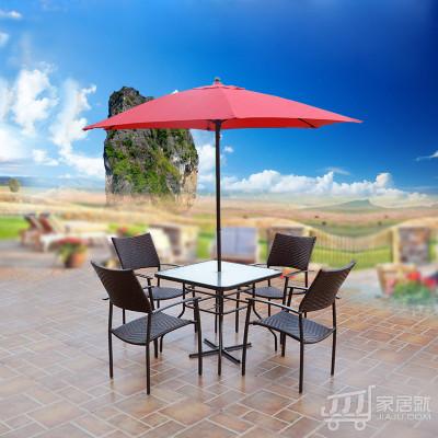 丰舍 户外花园庭院 酒吧咖啡厅会所红色中柱伞套装组合 深咖啡色