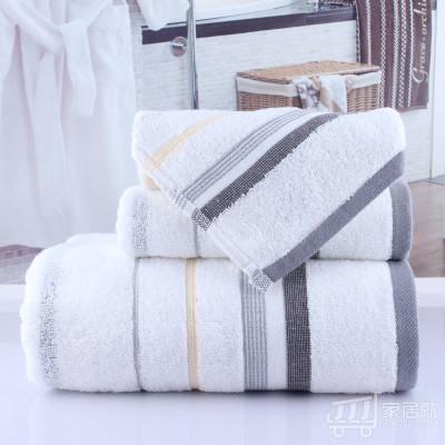 洁丽雅 纯棉毛巾浴巾三件套 实惠家庭 简易包装 灰色6410