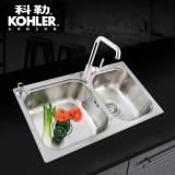 科勒丽笙抗油厨盆大小槽厨房水槽龙头套餐K-72829T(BJ) 水槽+99176龙头