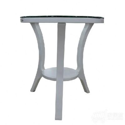 AJ家居 欧式圆形小茶几、钢化玻璃茶几、会客实木小圆桌 白色