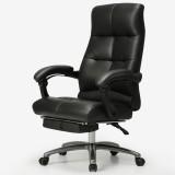 黑白调Hbada 电脑椅 办公椅子 家用老板转椅真皮 黑色真皮款