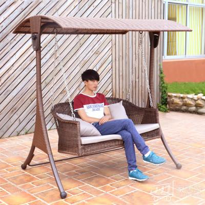 丰舍 户外藤编秋千吊椅室外庭院家具花园藤椅摇椅双人秋千 深咖啡色