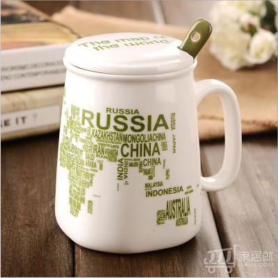 创意地图字母牛奶杯子 带盖带勺鼓形陶瓷杯 马克杯 CPU 绿色