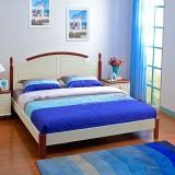 尚满 地中海卧室家具系列边框实木单双人简易床 板式高箱储物床 1800*2000 简易单床