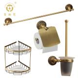 老铜匠 纯铜浴室挂件套装 GM102030 欧式仿古全铜毛巾架马桶刷纸巾架双层三角篮