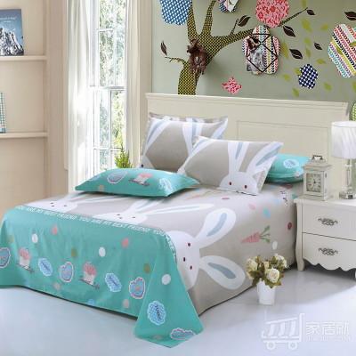 [德玉秀坊] 全棉床单+2只枕套 Q6-2 160*230cm 大白兔-灰