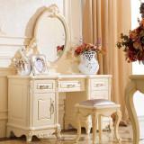 法莉娜 法式梳妆台 欧式实木化妆桌妆柜 田园卧室家具组合 M31 梳妆台(不含妆凳) 闪光漆描金