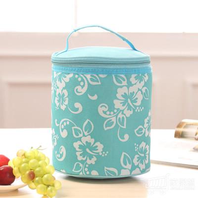 绿盒子 可爱圆形防水便当包保温包 午餐加厚饭盒袋便当保温袋 天蓝色