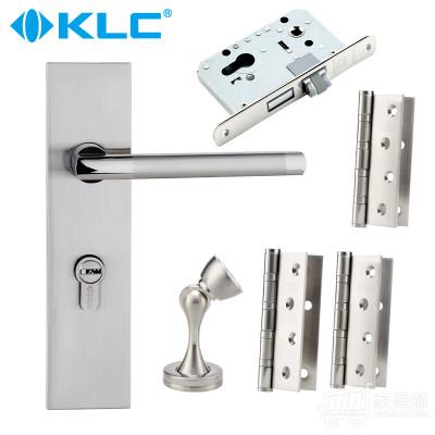 德国KLC不锈钢色简约室内房门锁 静音门锁三件套装 不带钥匙 连体静音3合页