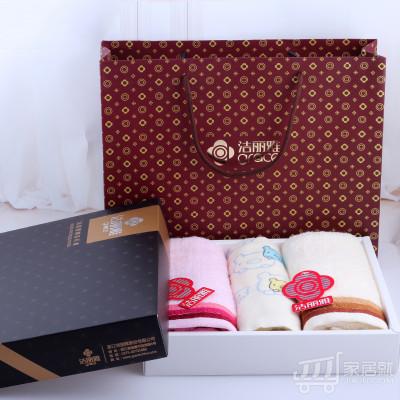 洁丽雅grace 纯棉毛巾童巾 亲子礼盒3条装 66376280 黑色土豪金礼盒