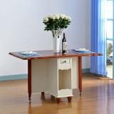 尚满 地中海餐厅家具系列 实木框架可折叠餐桌餐台+餐椅组合 折叠餐桌