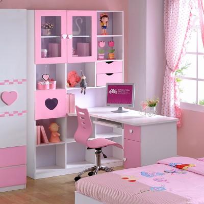 糖果屋 儿童卧室书房书桌 转角电脑桌学习桌写字桌台 转角书桌书架+椅子 粉红色