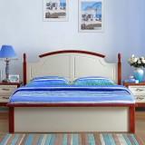 尚满 地中海卧室家具系列边框实木单双人简易床 板式高箱储物床 1500*2000 板式高箱床