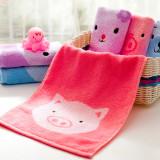 洁丽雅grace 纯棉儿童型毛巾 超舒适柔软健康护肤洁面面巾 3073 混色3条装