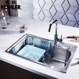 科勒KOHLER厨房不锈钢水槽单槽洗菜盆厨盆套餐(BJ) 77160+668