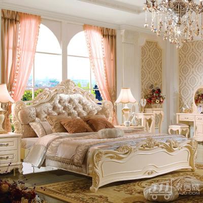 法莉娜 欧式实木双人床 法式1.8米布艺床 公主婚床卧室家具 M05 1.8*2.0排骨架床 闪光漆描金