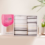 洁丽雅 纯棉毛巾3件套 方巾 浴巾礼盒包装 6410 元旦春节福利 灰+郁金香盒子