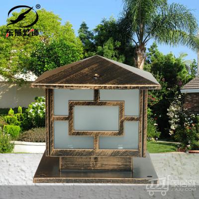 东燕 欧式墙头灯 LED柱头围墙方形户外大门柱子庭院花园灯具 6005 中号30cm 古铜色