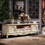 法莉娜 法式电视柜 欧式地柜1.8米 电视机柜 实木框架法式奢华H50电视机柜 实木框架法式奢华(七分哑珍珠白)