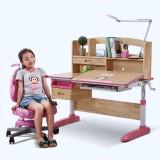 美亿佳 实木儿童学习桌可升降儿童书桌椅套装学生电脑桌写字台 粉色睿智椅套装
